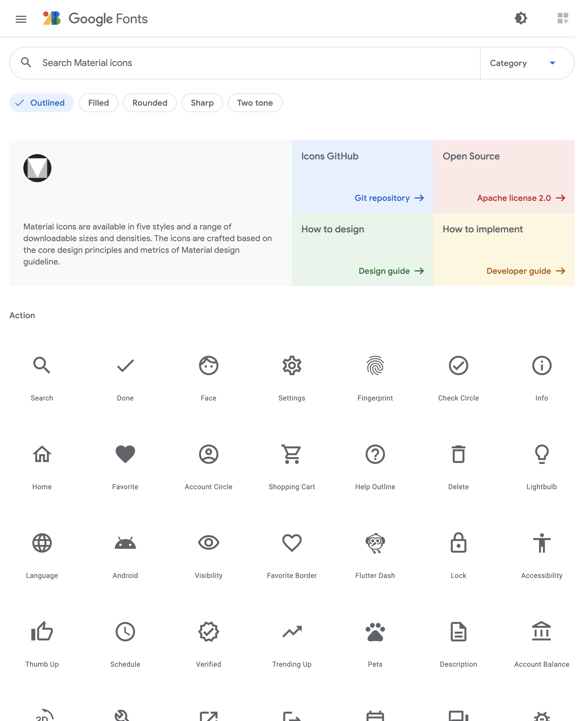 Googleフォントのページ