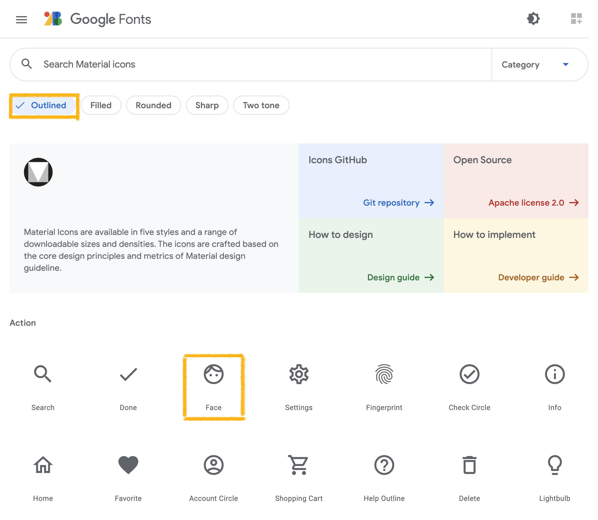 Googleマテリアルアイコンを選択